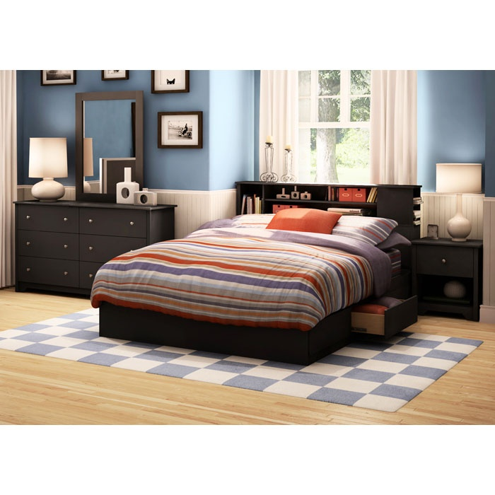 Vito Black Queen Bedroom Set with Bookcase Bed