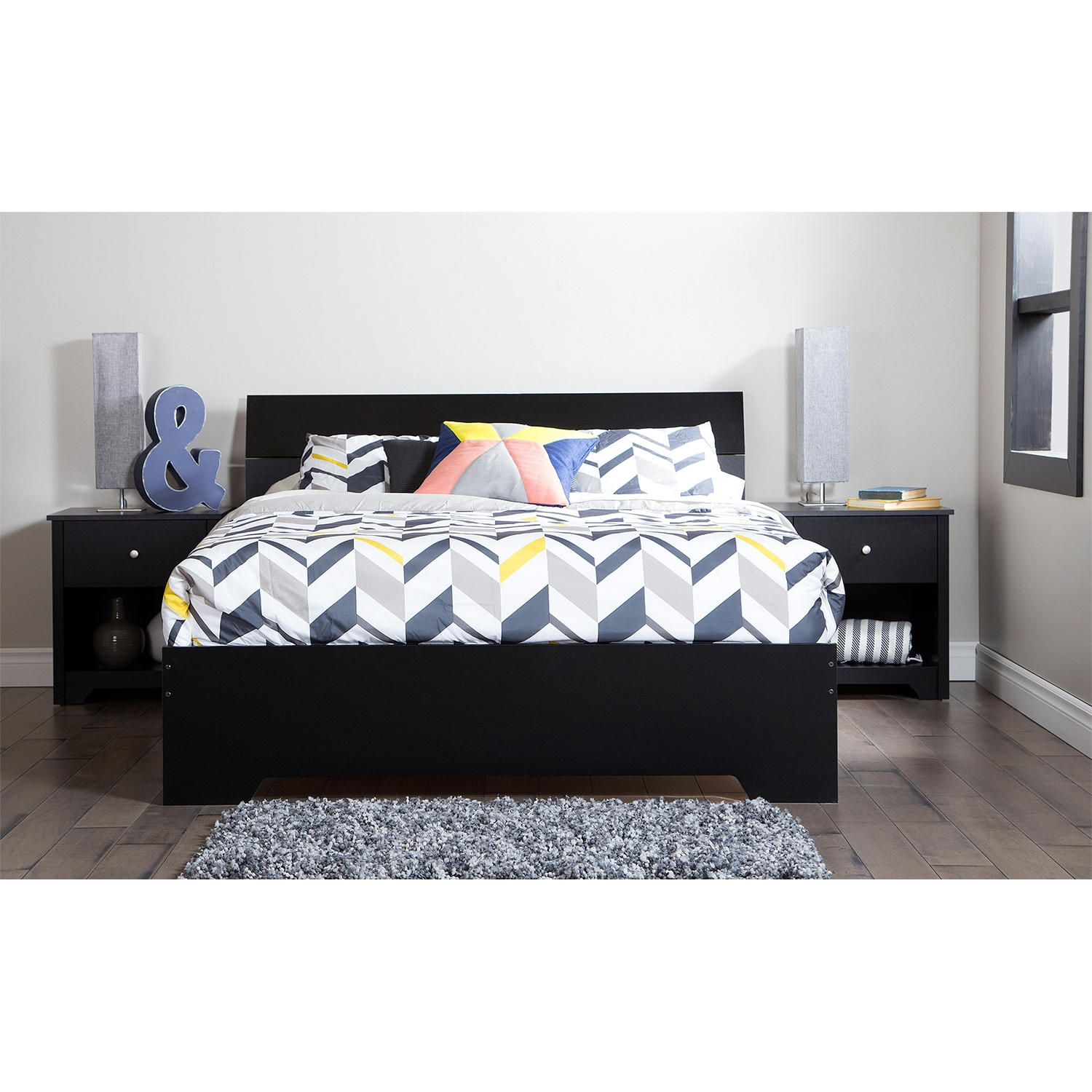 Vito Queen Platform Bed - Panel Headboard, Pure Black - SS-3170282