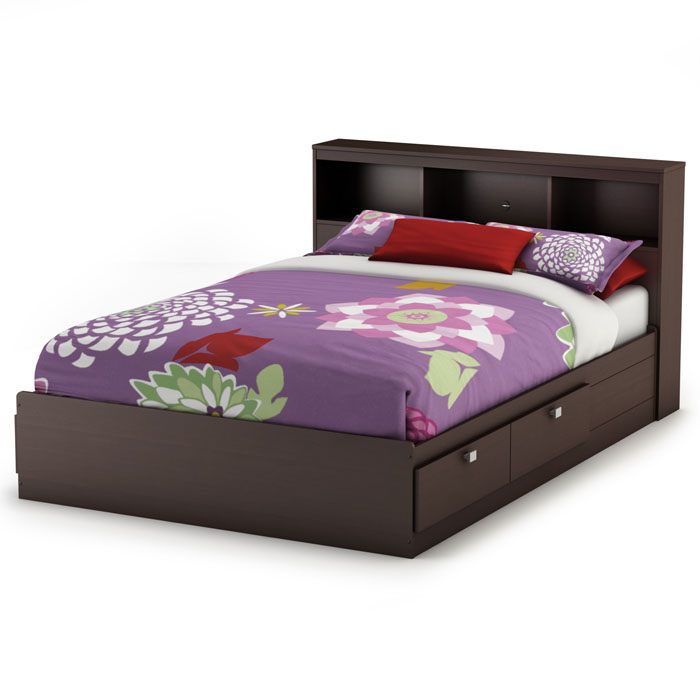 Cacao Full Mate's Bed with Bookcase Headboard