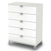Sparkling 5-Drawer Chest in Pure White