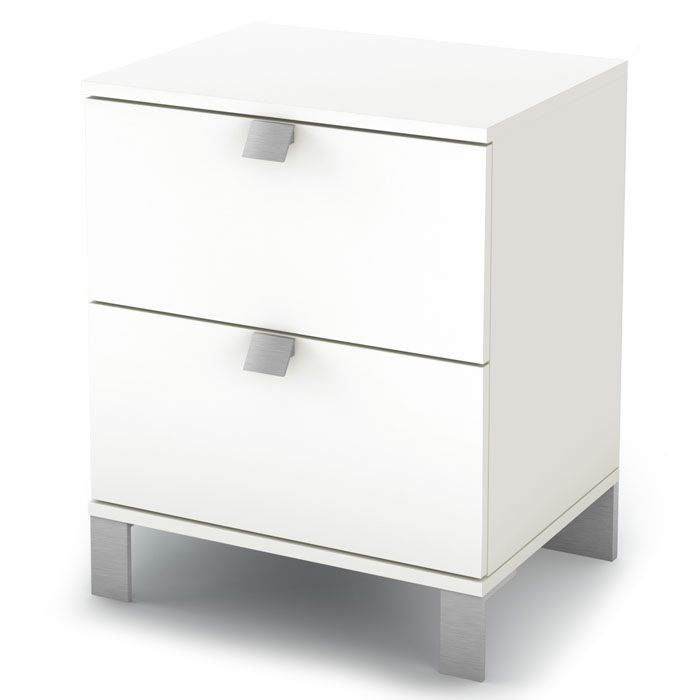 Sparkling 2-Drawer Nightstand in Pure White