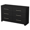 Primo 6 Drawers Double Dresser - Pure Black - SS-3307010
