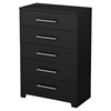 Primo 5 Drawers Chest - Pure Black