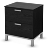 Flexible Black Oak 2-Drawer Nightstand