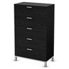 Flexible Black Oak 5-Drawer Chest