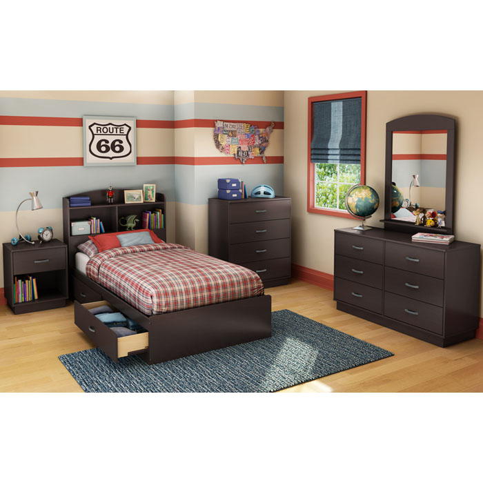 Logik Chocolate Twin Mate's 4 Piece Bedroom Set
