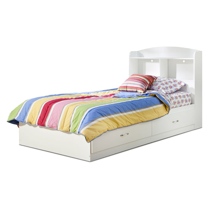 Logik White Bookcase Platform Bed with Drawers - SS-3360213-3360098