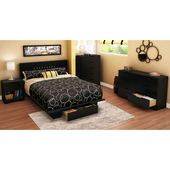 Holland Pure Black Platform Storage Bed with Headboard - SS-3370215-3370261