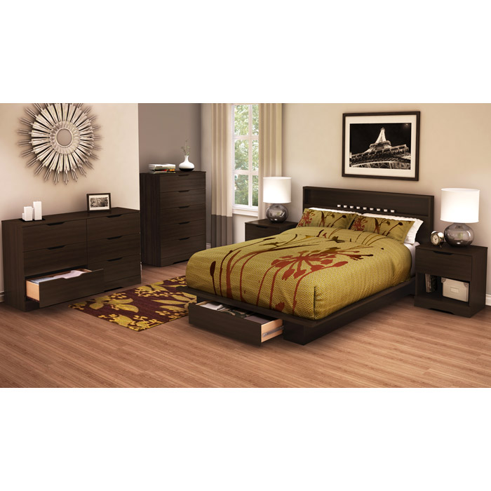 Holland Mocha Platform Bed with Storage Underneath - SS-3379215