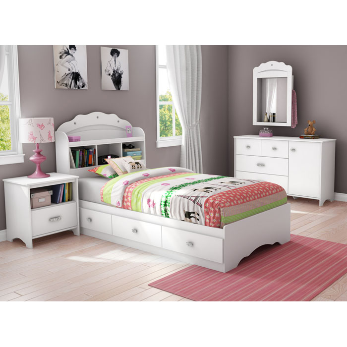 Tiara Modern White Nightstand with One Drawer - SS-3650062
