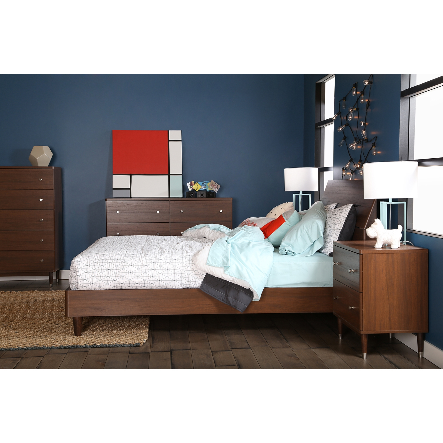 Olly Queen Platform Bedroom Set - Brown Walnut