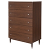 Olly 5 Drawers Chest - Brown Walnut