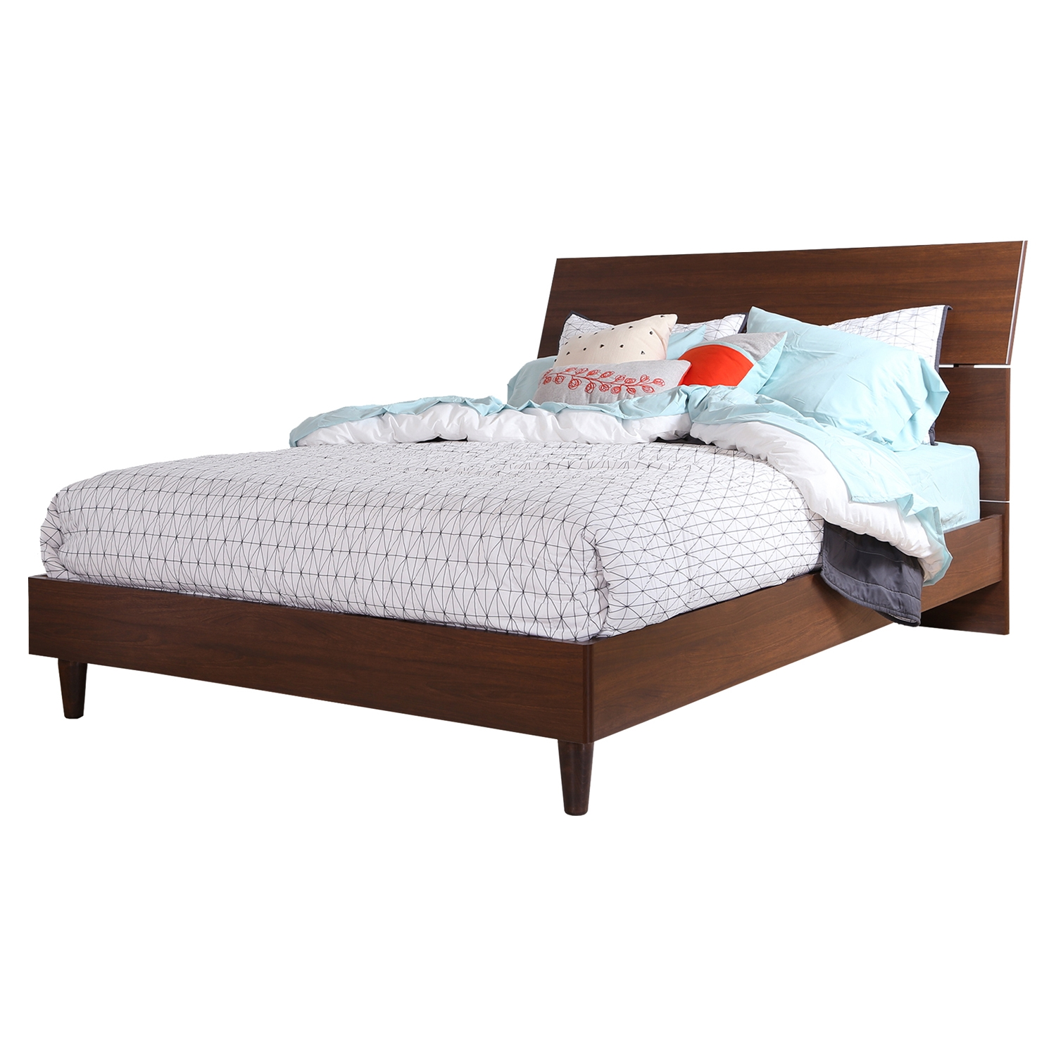 Olly Queen Platform Bed - Headboard, Brown Walnut