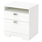 Reevo Nightstand - Drawers and Cord Catcher, Pure White