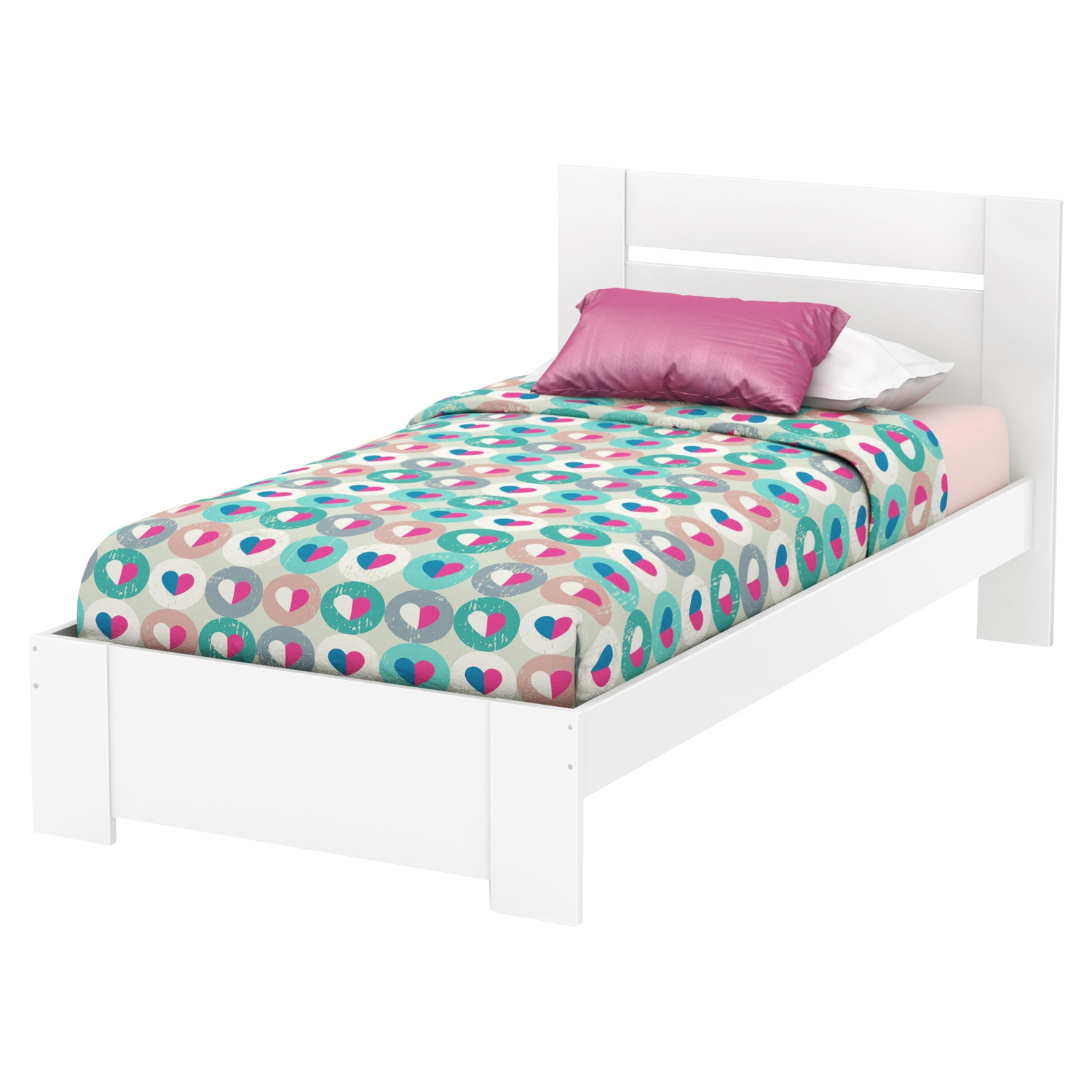 Reevo Twin Platform Bed - Panel Headboard, Pure White - SS-3840189