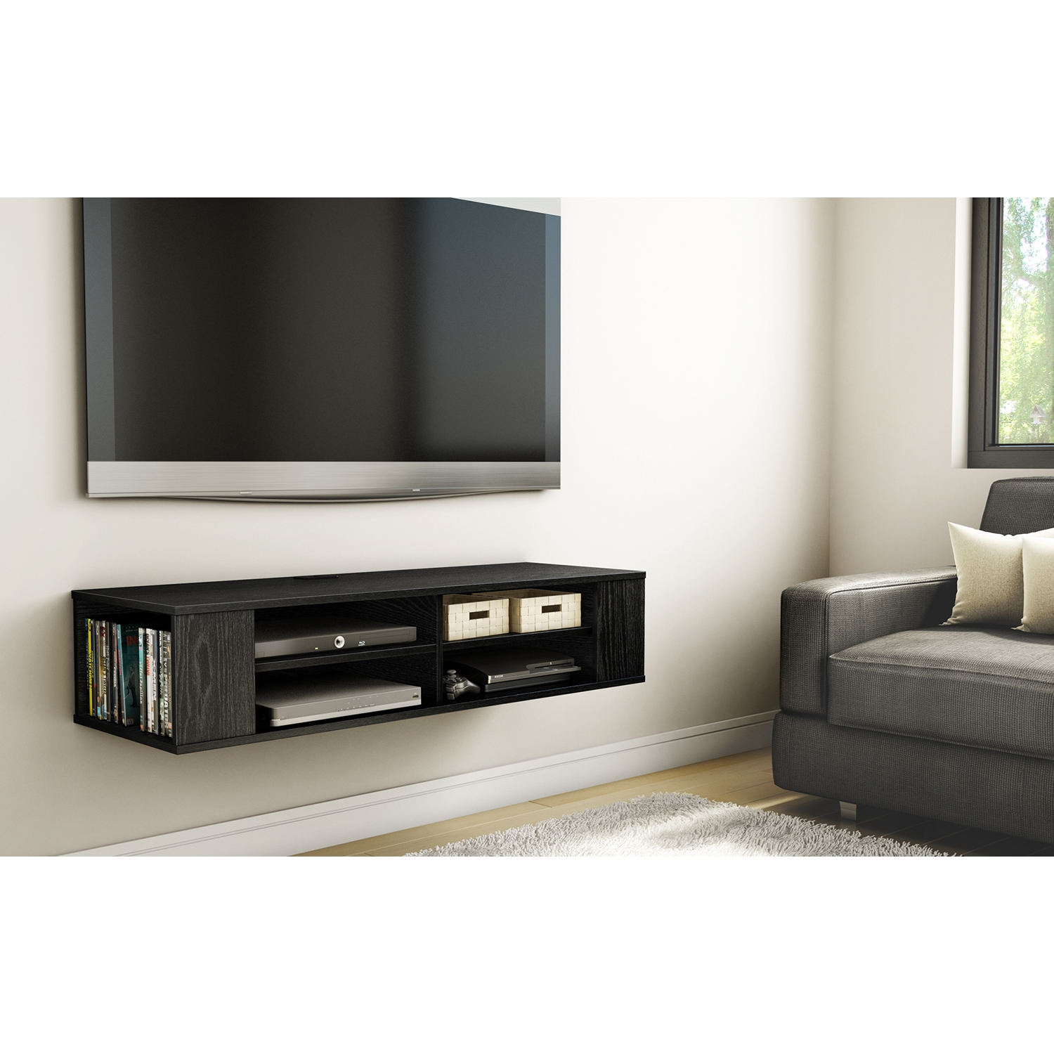 City Life Wall Mounted Media Console - Black Oak - SS-4147675