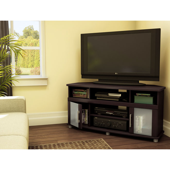City Life Corner TV Stand in Chocolate Brown - SS-4219690