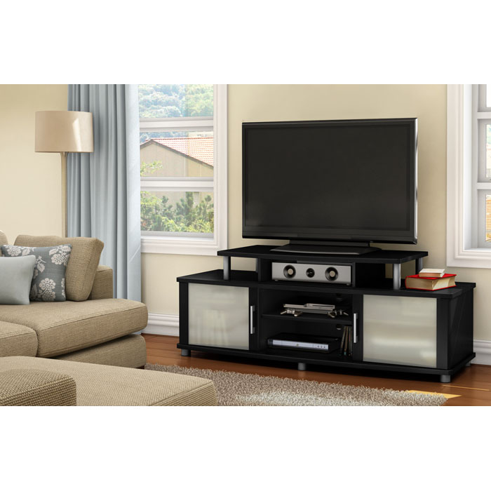 City Life Black Entertainment Stand with Adjustable Shelf - SS-4270601