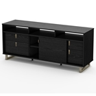 Uber Entertainment Stand in Black Oak