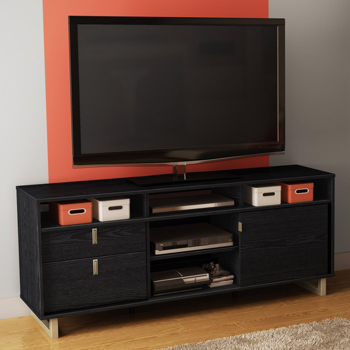 Uber Entertainment Stand in Black Oak - SS-4347678