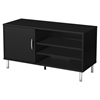 Renta TV Stand - 1 Door, 3 Shelves, Pure Black