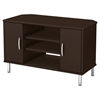 Renta Corner TV Stand - 2 Doors, 3 Shelves, Chocolate