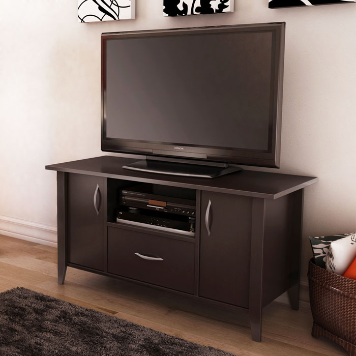 Classic View Media Stand in Chocolate Brown - SS-4959661
