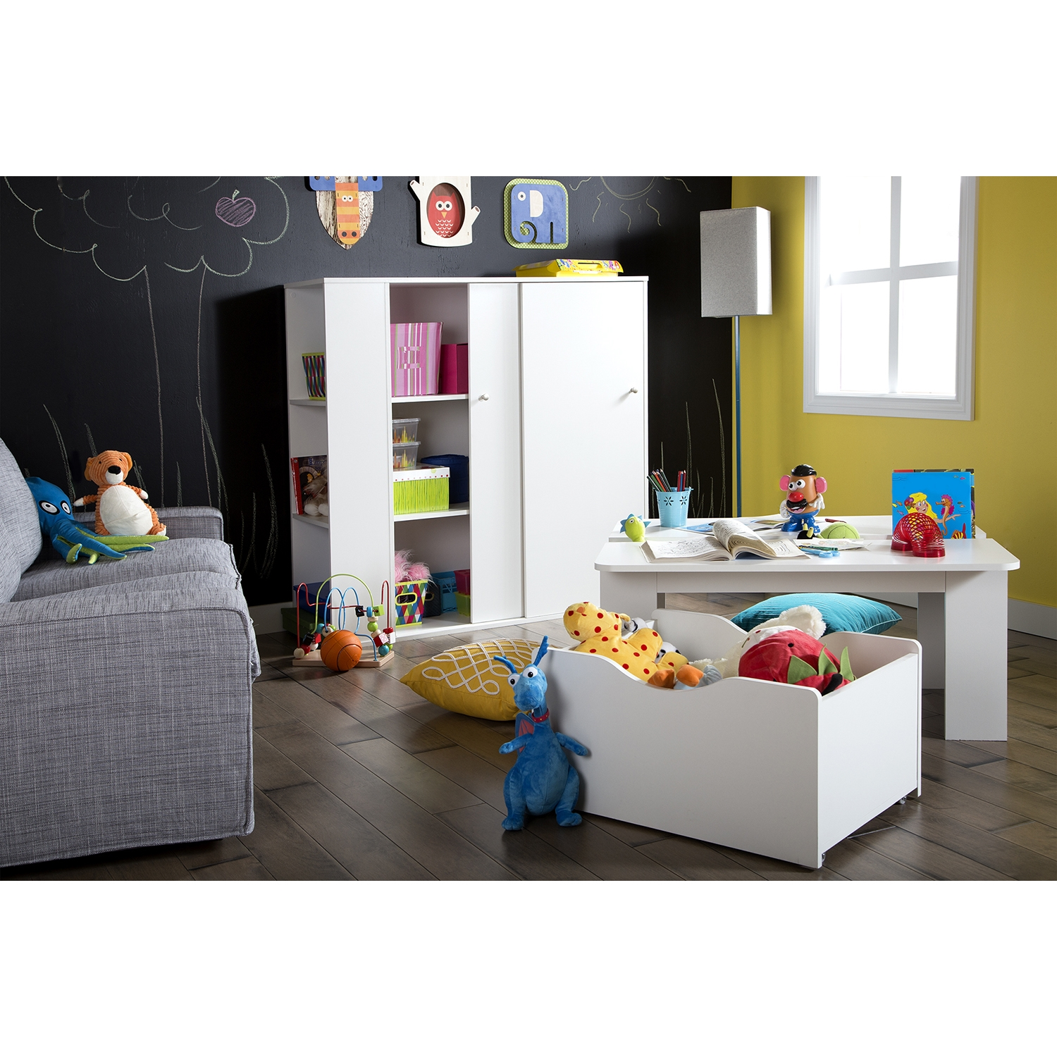 Storit Kids Activity Table - Toy Box On Wheels, Pure White - SS-5050052