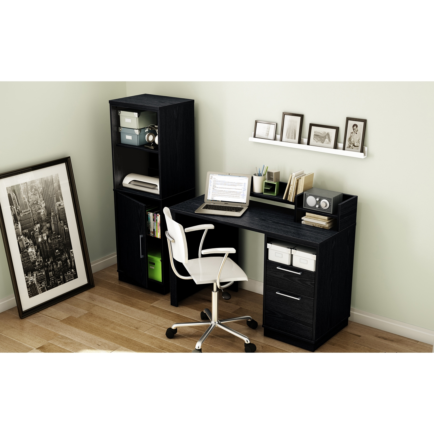 Academic Office Desk - Black Oak - SS-7247795