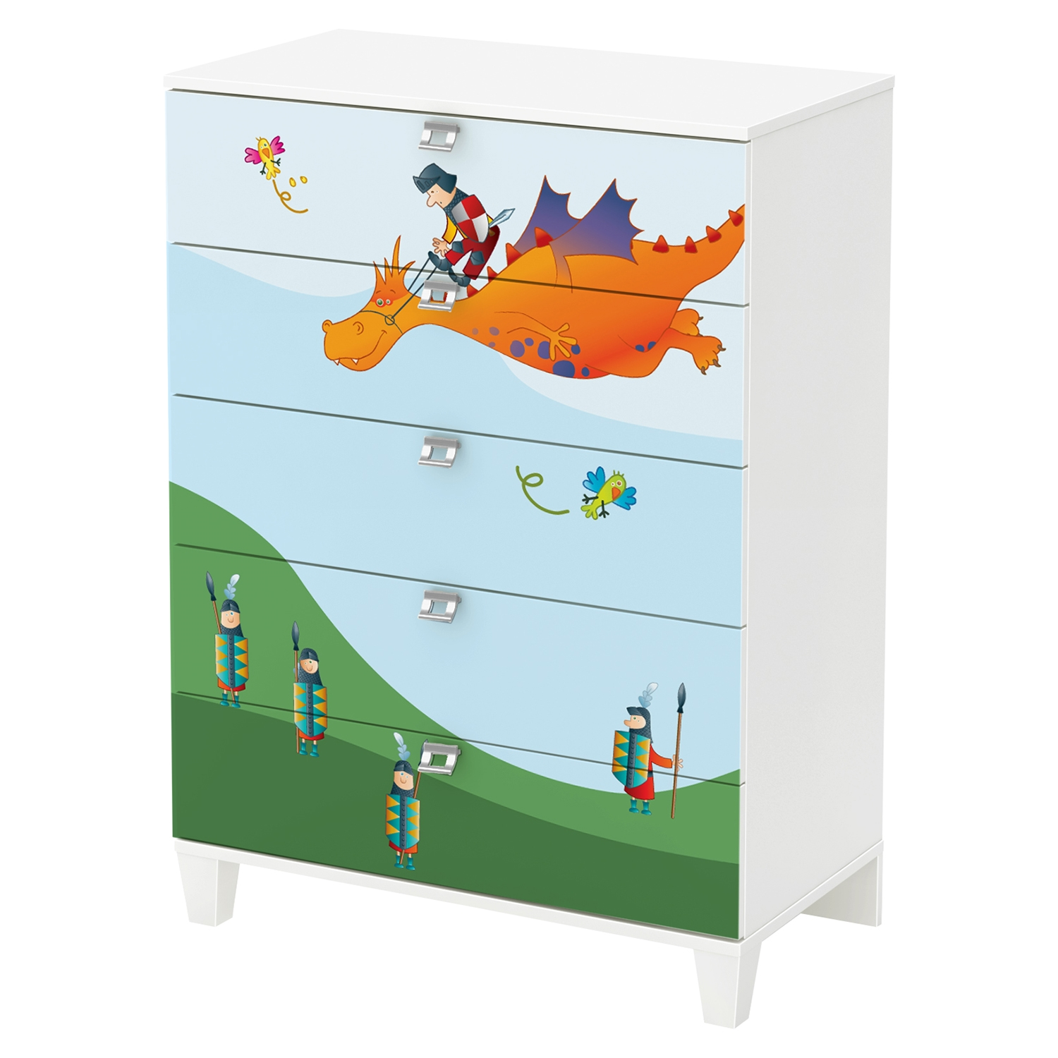 Andy Chest with Dragon Decals - Pure White, 5 Drawers