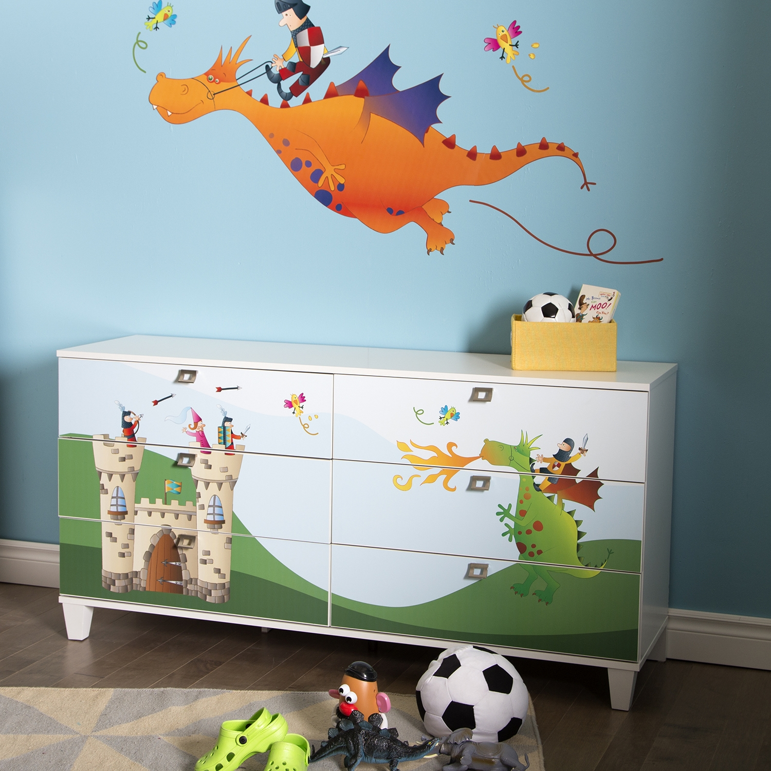 Andy Double Dresser with Dragon and Castle Decals - Pure White, 6 Drawers - SS-8050017K