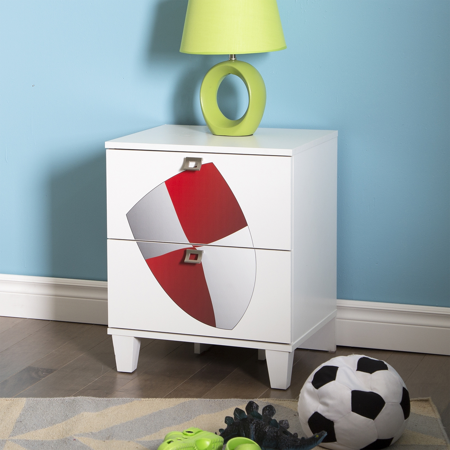 Andy Nightstand with Shield Decals - Pure White, 2 Drawers - SS-8050019K
