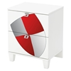 Andy Nightstand with Shield Decals - Pure White, 2 Drawers