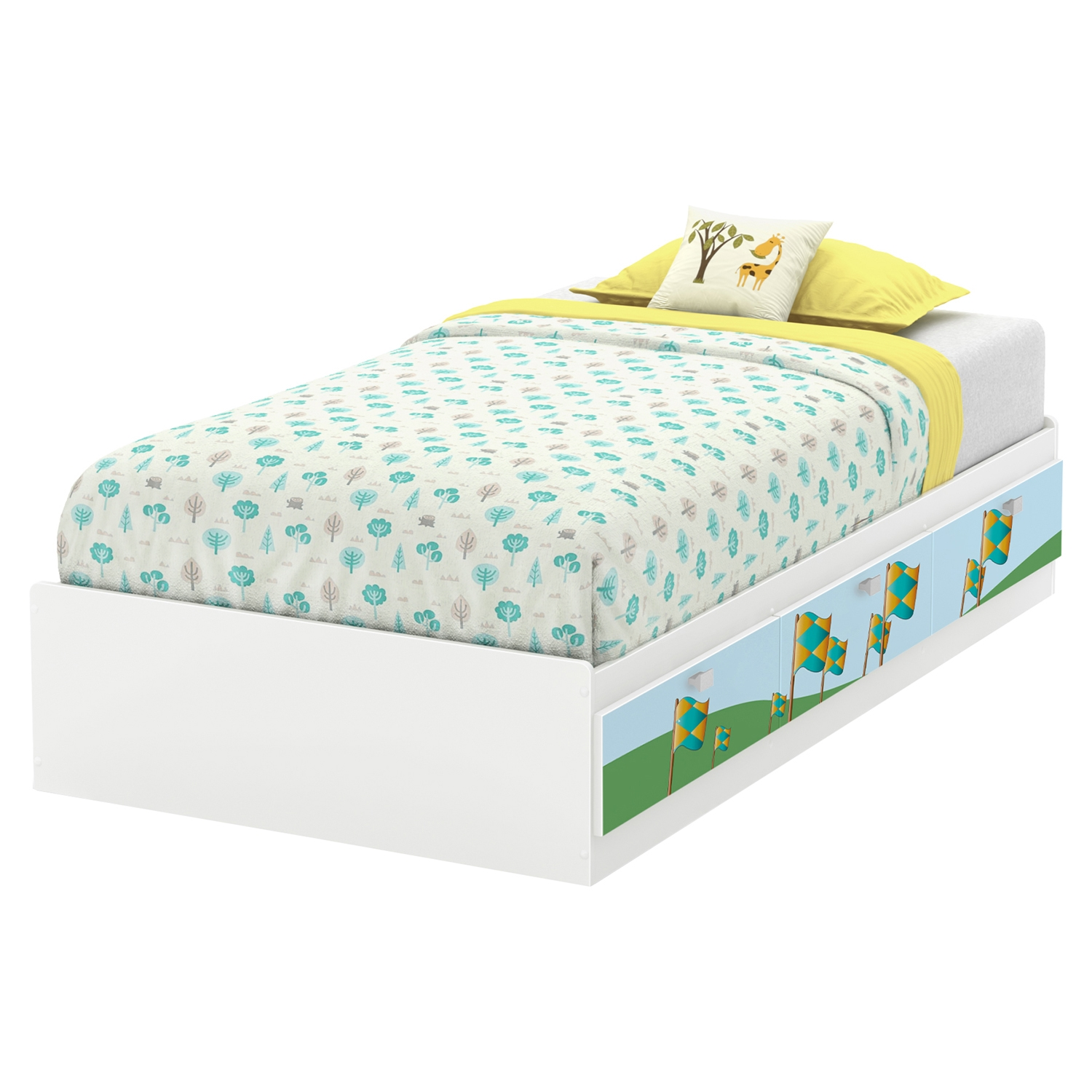 Andy Twin Mates Bed with Flag Decals - 3 Drawers, Pure White - SS-8050022K