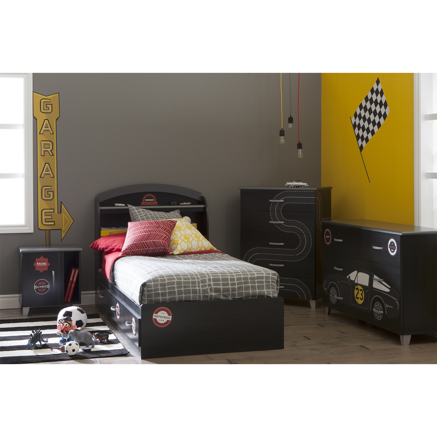 Luka 5 Drawers Chest - Race Track Decals, Black Onyx and Charcoal - SS-8050027K