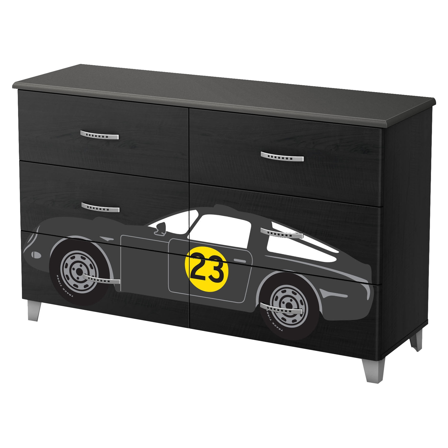 Luka 6 Drawers Double Dresser - Car Decals, Black Onyx and Charcoal