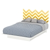 Step One Queen Storage Platform Bed - Yellow Chevron Decal, Pure White