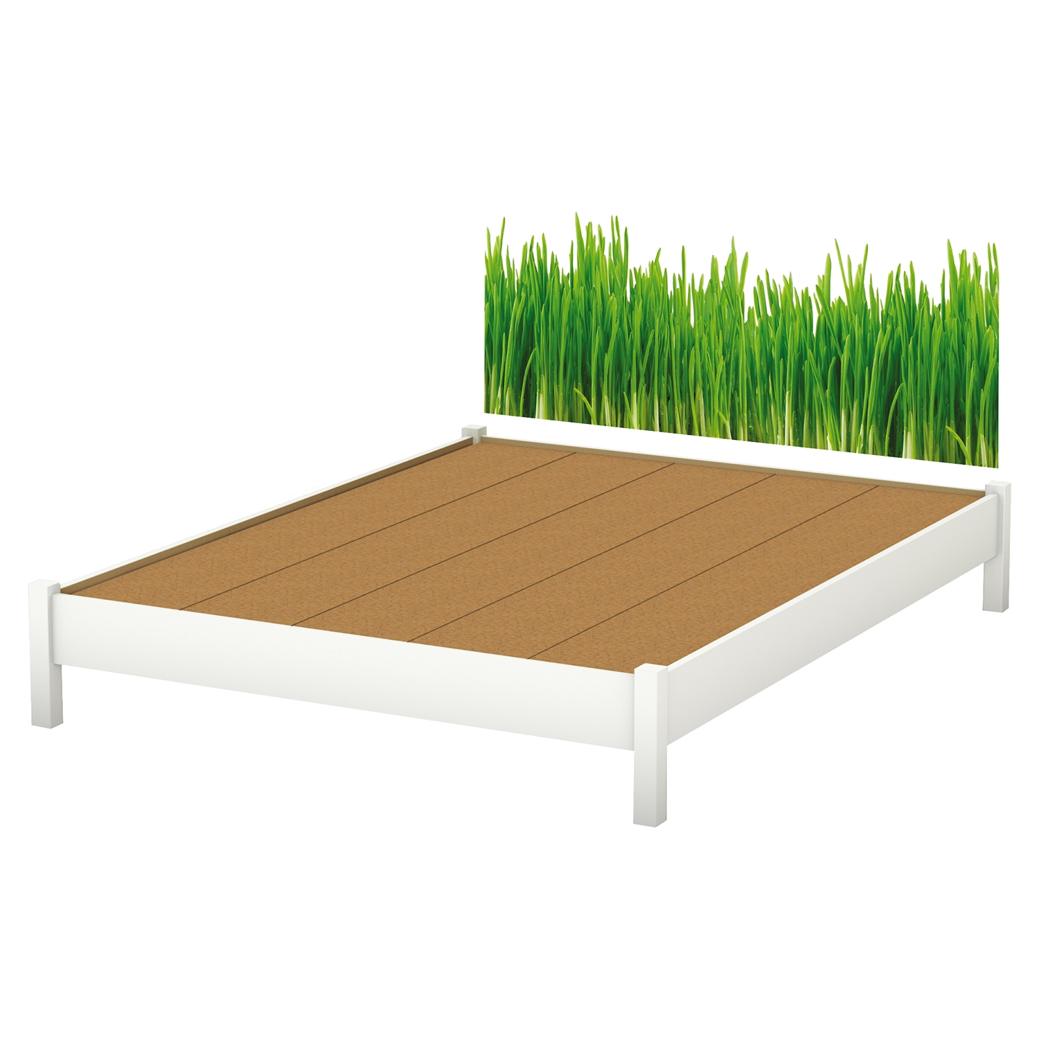 Step One Queen Platform Bed with Legs - Grass Decal, Pure White