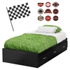 Luka Twin Mates Bed - Racing Flag, Race Badges Wall Decals, Black Onyx