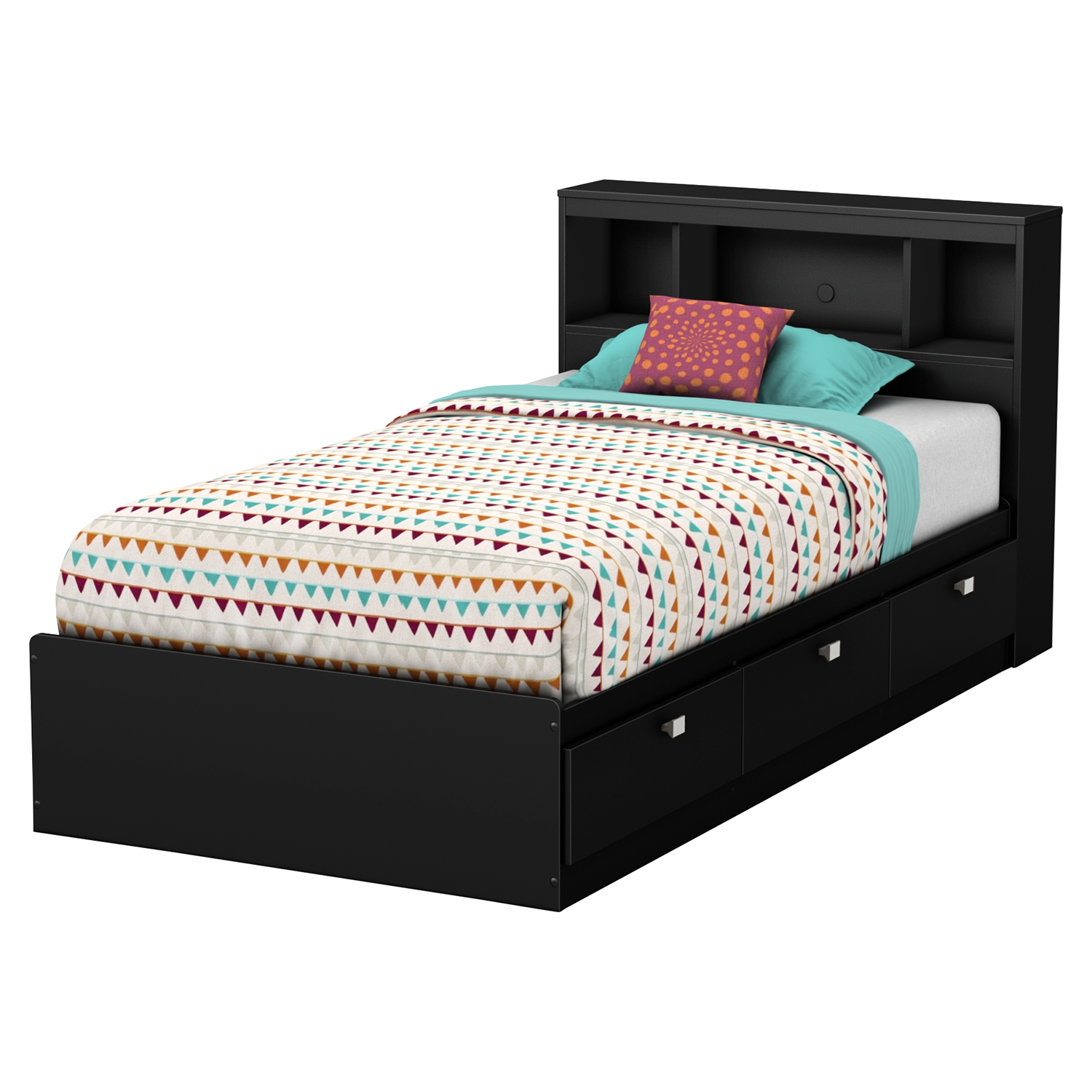 Karma Twin Bookcase Headboard - Pure Black - SS-9001B1