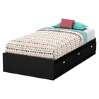 Karma Twin Mates Bed - 3 Drawers, Pure Black