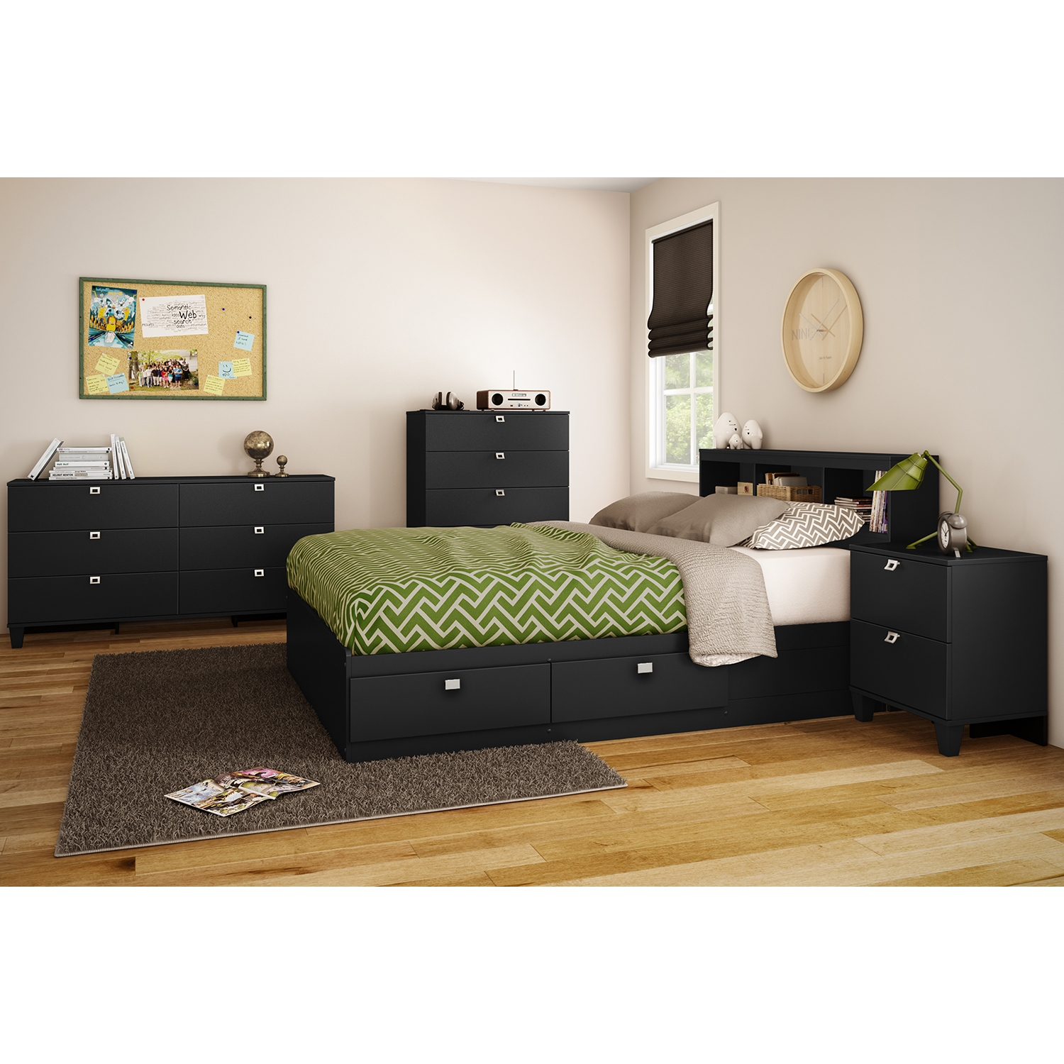 Karma Full Mates Bed - 4 Drawers, Pure Black - SS-9001D1