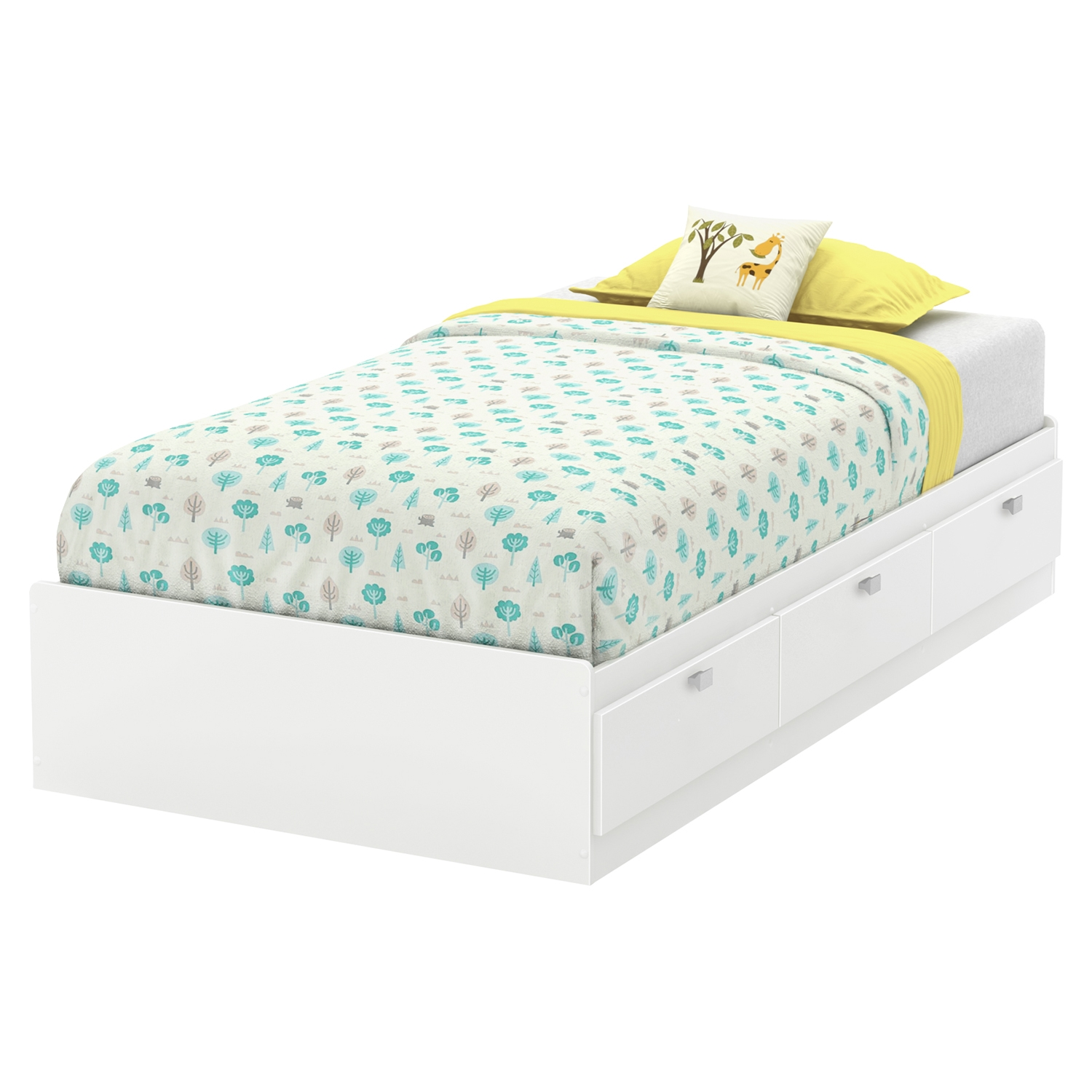 Karma Twin Mates Bed - 3 Drawers, Pure White - SS-9002C1