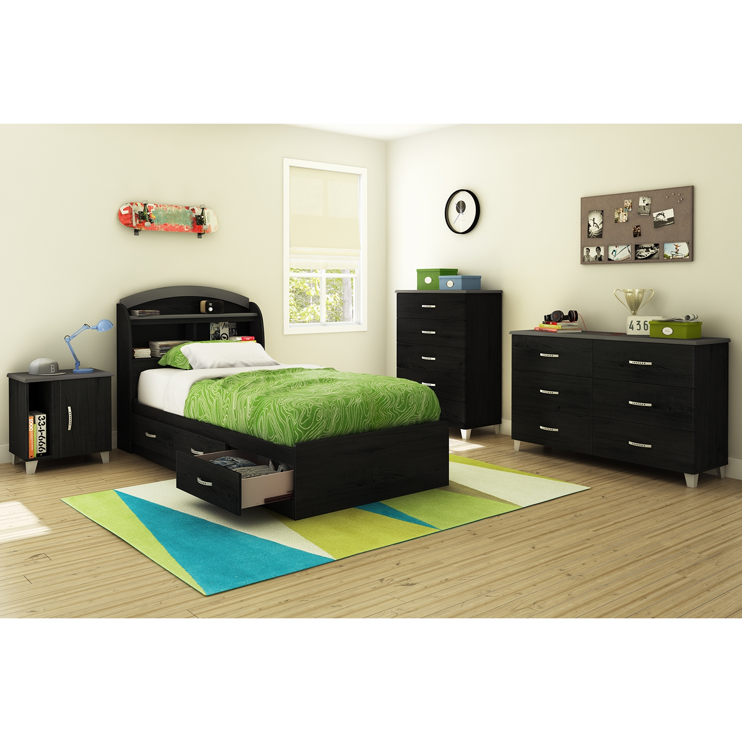 Lazer Twin Bookcase Headboard - Black Onyx - SS-9005B1