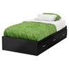 Lazer Twin Mates Bed - 3 Drawers, Black Onyx