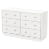 Litchi 6 Drawers Double Dresser - Pure White