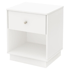 Litchi 1 Drawer Nightstand - Pure White