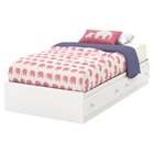 Litchi Twin Mates Bed - 2 Drawers, Pure White
