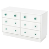 Little Monsters 6 Drawers Double Dresser - Pure White
