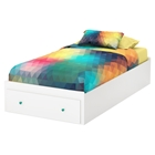 Little Monsters Twin Mates Bed - 1 Drawer, Pure White